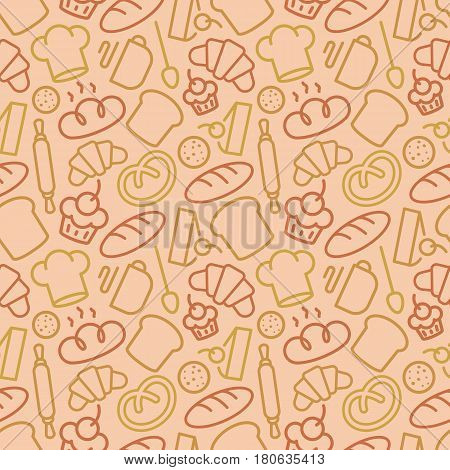 Bakery seamless pattern consisting of baking accessories and food line style different color for use decoration identity loaf store, coffee shop, food market, cafe etc. Vector Illustration