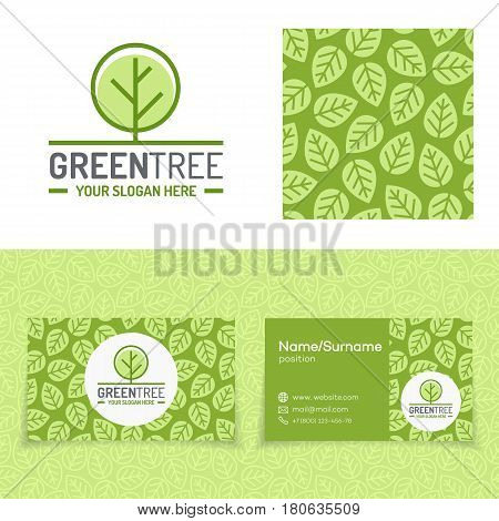 Green tree logo set consisting of emblem, leaves pattern and business card for nature firm, natural product, organic shop, ecology company, green unity, garden, farming, forest. Vector Illustration