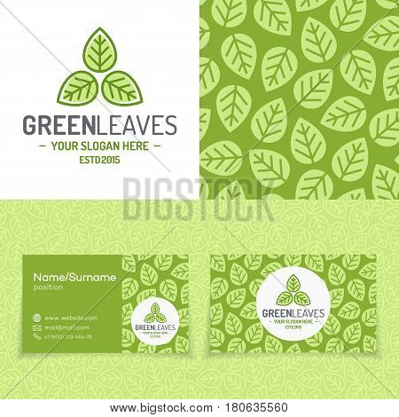 Green leaves logo set consisting of emblem, pattern and business card for organic shop, ecology company, green unity, nature firm, natural product, garden, farming, forest. Vector Illustration
