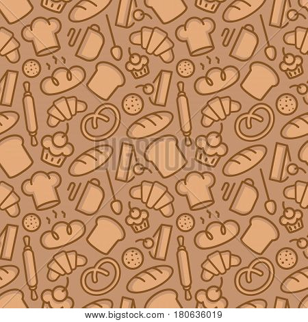 Bakery seamless pattern consisting of food and baking accessories line style brown color for use decoration identity loaf store, coffee shop, food market, cafe, cupcake firm etc. Vector Illustration