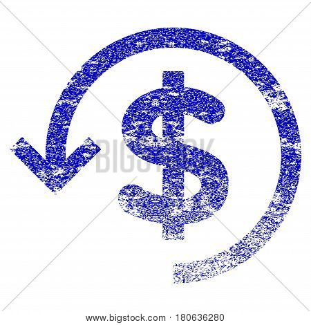Refund grunge textured icon. Flat style with scratched texture. Corroded vector blue rubber seal stamp style. Designed for overlay watermark stamp elements with grainy design.