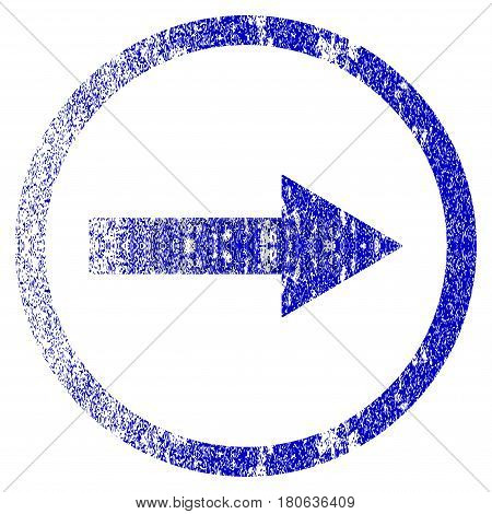 Right Rounded Arrow grunge textured icon. Flat style with scratched texture. Corroded vector blue rubber seal stamp style. Designed for overlay watermark stamp elements with grainy design.