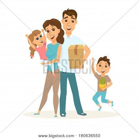 Family in new home with cardboard boxes. People moving house. Mortgage loading real estate property with loan. Buying or or rental room. Happy couple and their children
