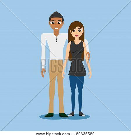 multiethnic couple together design vector illustration eps 10