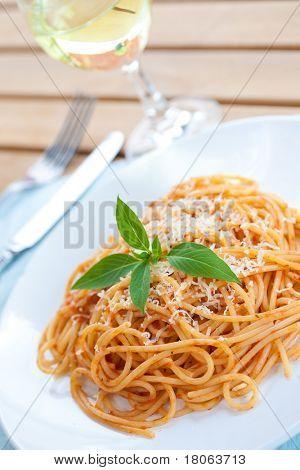 Plate of spaghetti in tomato sauce