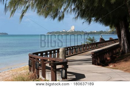 Walkway, Beach Road, Saipan The Beach Road walkway in Garapan is a favorite of many to walk, jog or run especially late in the afternoon or early morning.