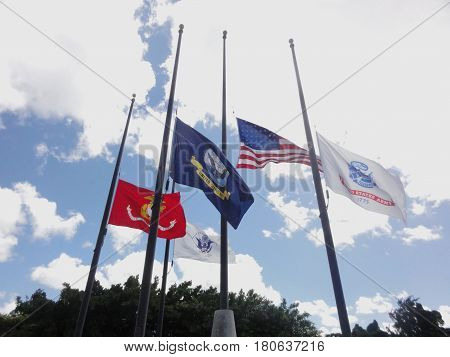 US and military flags at half staff A United States Navy flagand US military flags waves from a pole along with flags the United States