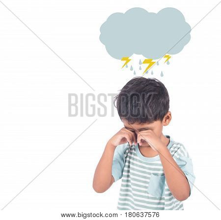 Cute asian little boy sad and cry on white background