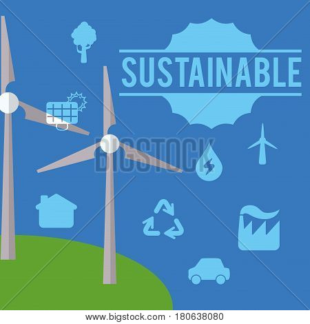 sustainable ecology environment different vector illustration eps 10