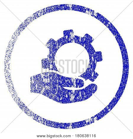 Service grunge textured icon. Flat style with dust texture. Corroded vector blue rubber seal stamp style. Designed for overlay watermark stamp elements with grainy design.