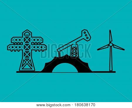 electric tower oil pump and turbine wings vector illustration eps 10