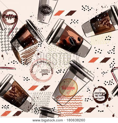Coffee vector pattern with brown hand drawn mugs and spots