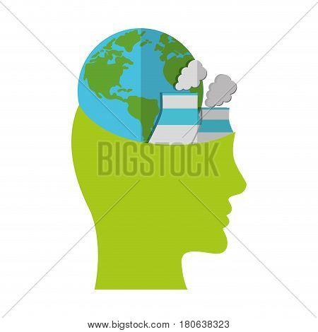 head think green globe nuclear power plant vector illustration eps 10