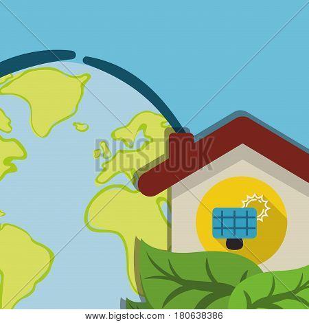 globe home energy solar panel ecology vector illustration eps 10