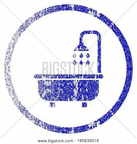 Shower Bath grunge textured icon. Flat style with dust texture. Corroded vector blue rubber seal stamp style. Designed for overlay watermark stamp elements with grainy design.