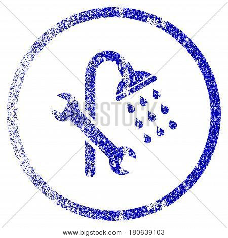 Shower Plumbing grunge textured icon. Flat style with unclean texture. Corroded vector blue rubber seal stamp style. Designed for overlay watermark stamp elements with grainy design.