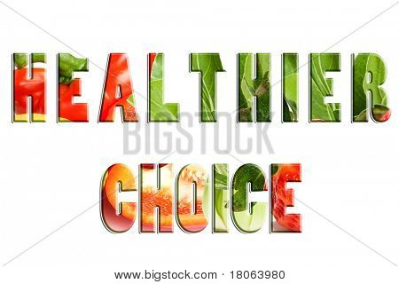Text word ' Healthier Choice' with fresh vegetables and fruit background image.