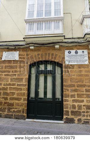 Cadiz Spain- April 1: House where born the Spanish composer Manuel de Falla on 23 November 1876 registration indicates in marble indicates its conmemoracion taken in Cadiz Andalusia Spain