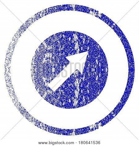 Up-Right Rounded Arrow grunge textured icon. Flat style with unclean texture. Corroded vector blue rubber seal stamp style. Designed for overlay watermark stamp elements with grainy design.
