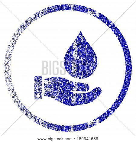 Water Service grunge textured icon. Flat style with dust texture. Corroded vector blue rubber seal stamp style. Designed for overlay watermark stamp elements with grainy design.