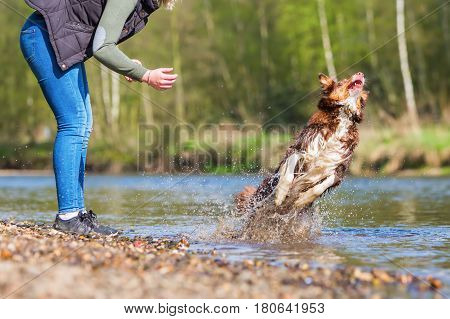 Young Woman With Her Dog At The River