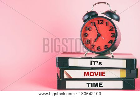 Movie time with text lable on video and clock timing