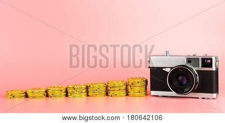 Making money from camera photography idea with copy space