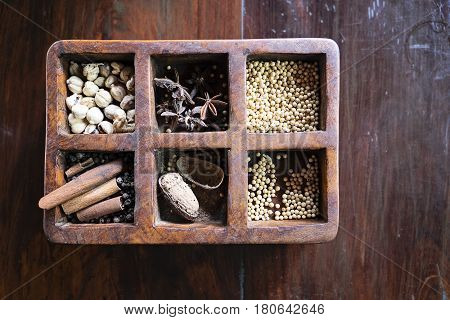 The Balinese herbs and food ingredients with wooden background