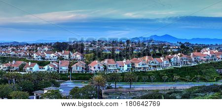 Panoramic View Of Tract Homes Along The Dana Point Coast