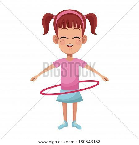 happy girl with hula hoop, cartoon icon over white background. colorful design. vector illustration