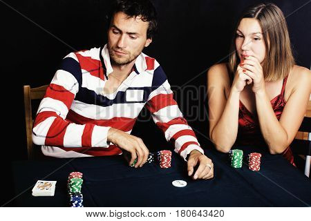 young people playing poker off-line tournament, friends party concept at home close up