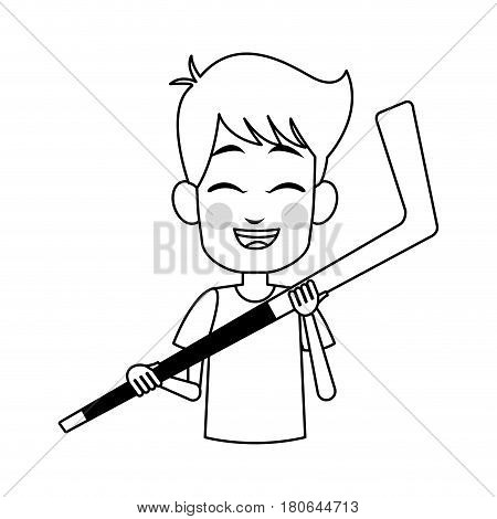 boy holding a hockey stick,  cartoon icon over white background. colorful design. vector illustration