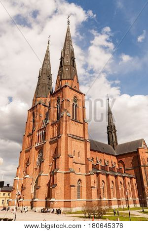 View of the cathedral in Uppsala Sweden