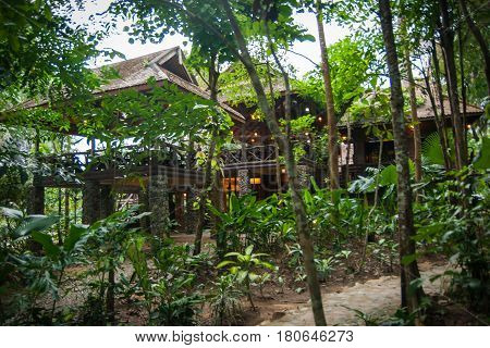 Houses On Stilts In The Rain Forest Of Khao Sok Sanctuary, Thailand