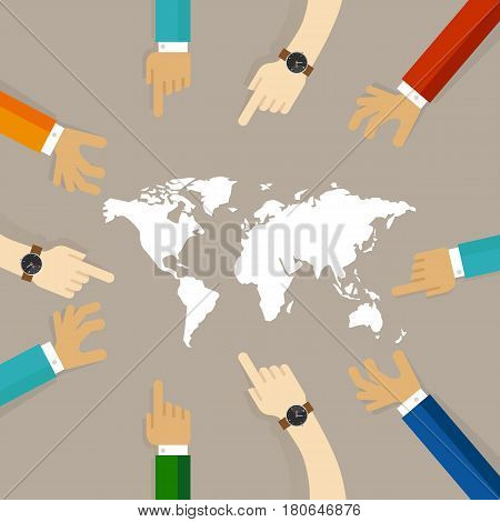 world map together hands pointing together concept of temwork collaboration international relationship between countries vector