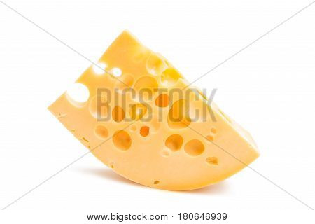 A piece of cheese isolated on a white background