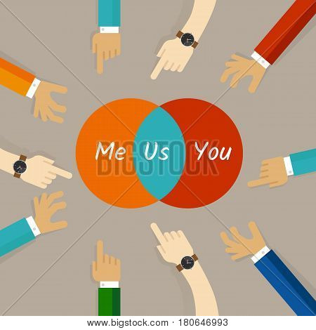 you and me are us concept of team work relationship spirit collaboration community building synergy in circle diagram vector