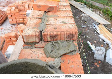 Bricklaying Brickwork Building Brick House Wall. Nobody.
