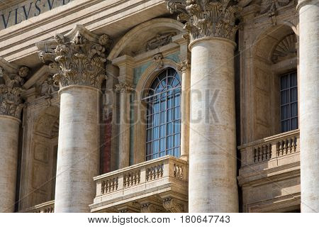 Rome Italy - March 21 2017: Pope balcony and window at Saint Peters Cathedral in Vatican