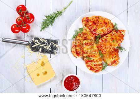 Grilled Chicken Breasts On White Plate