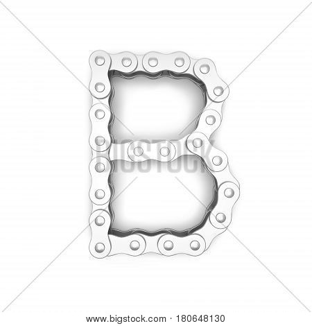 Alphabet made from Bicycle chain, letter B. 3D illustration