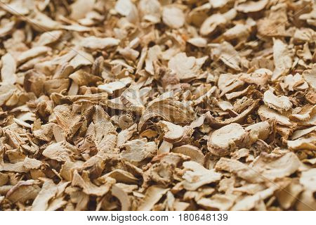 Thai Indian traditional Dried Herbal Galangal herb sliced.