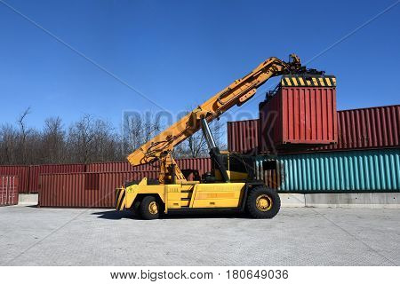 Container Handling Vehicle In Action