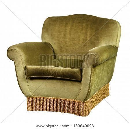 Green Velvet Armchair On White