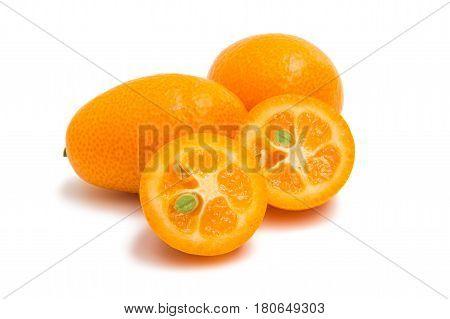 Kumquat Citrus Fruit isolated on white background