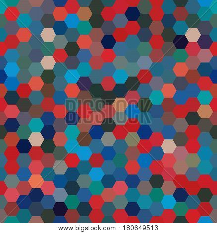 Vector Background With Hexagons. Can Be Used For Printing Onto Fabric And Paper Or Decoration. Blue,