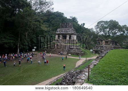 Palenque, Mexico, circa february 2017: Palenque ruins, Maya archeological site in Mexico