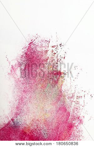 Abstract painting, graffiti of magenta color on white background. Creative blurred street art, modern abstractionism.