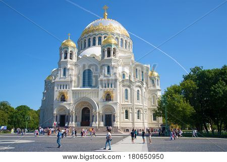 SAINT PETERSBURG, RUSSIA - JULY 18 2015: Naval Cathedral of St. Nicholas closeup of a sunny day in July. Kronshtadt
