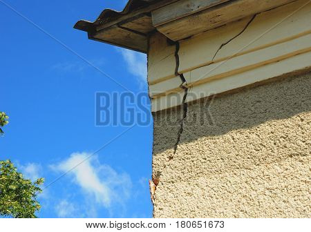 Architecture detail of damaged house corner dilapidated old building facade wall over blue sky background. Private abandoned home fall to ruin. Exterior House
